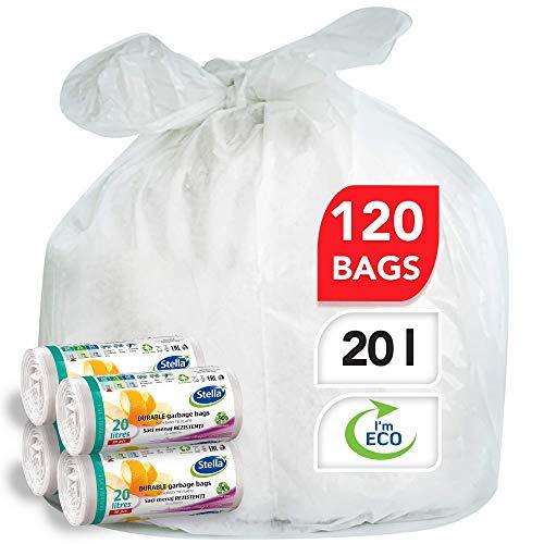 Stella Bio Müllbeutel - 20 L - 120 Stück - Umweltfreundlich und recycelbar - Mülltüten aus Kunststoffabfällen - Ultra-Starke und Flexible Müllsäcke - Farbe Weiß - Wellenverschluss