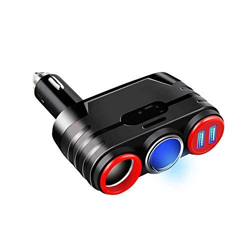 Qilo Portátil 120W 1 a 2 Encendedor del Coche del Divisor del zócalo Separado Interruptor de Control Dual USB de Carga rápida