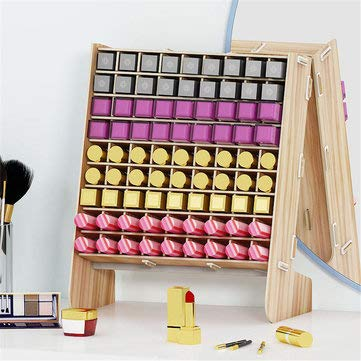 DyNamic 81 Grids Houten Lipstick Desktop Opbergrek Nagellak Organizer Display - Bruin