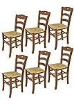 t m c s Tommychairs - Set 6 sillas Cuore para Cocina y Comedor, Estructura en Madera de Haya Color Nuez y Asiento en Paja