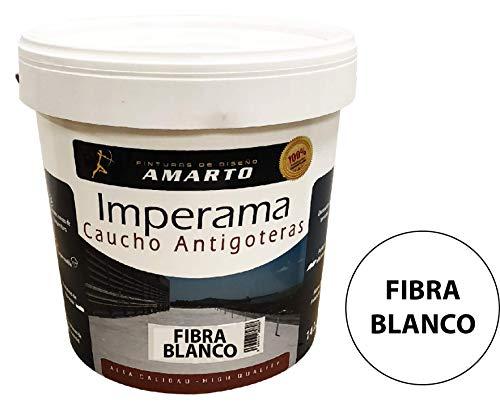 Pintura Impermeabilizante de Caucho con Fibra de Vidrio. Imperama Fibra al agua antigoteras (750 ML, Blanco)