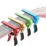 4 Pièces Capo de Guitare en Aluminium Métal Universel, Guitares Électriques Acoustiques et Classiques, Basse, Banjo, Violon, Mandoline, Ukulele (Or, Rouge, Vert, Bleu)
