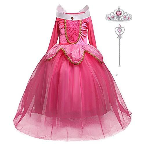 LiUiMiY Disfraces Niña Princesa Vestido de Manga Larga Carnaval Tul Tiara Cosplay Wedding Party Vestido de Carnaval de Cumpleaños para Niñas, Rosa, 116-122 (etiqueta 120)