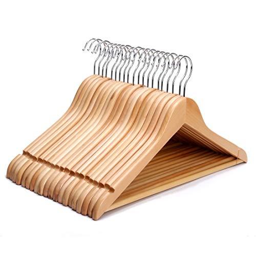 JPN - Juego de 20 perchas de madera resistentes con barra redonda para pantalones y muescas de hombro, ideal para trajes, pantalones, faldas, camisas y blusas, acabado natural