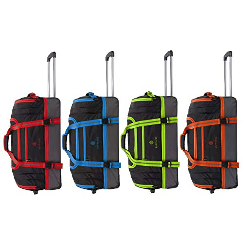 Holdall Trolley Wheeled Luggage Bag Waterproof Rolling Duffle Bag with Wheels Lightweight Suitcase,Sizes : 22' 26' 30', Colours : Red, Orange, Green, Blue (Orange, Medium 26 Inches)