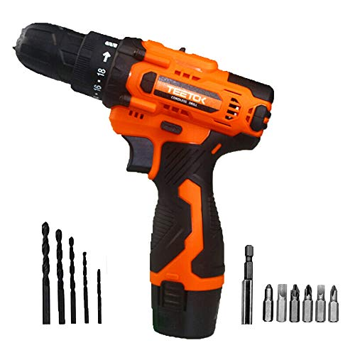12V Cordless Combi Drill Driver Set Electric Power Screwdriver Drill Bit Set Tool 12PCS Bits, with 1500mAh Li-ion Battery, LED Working Light