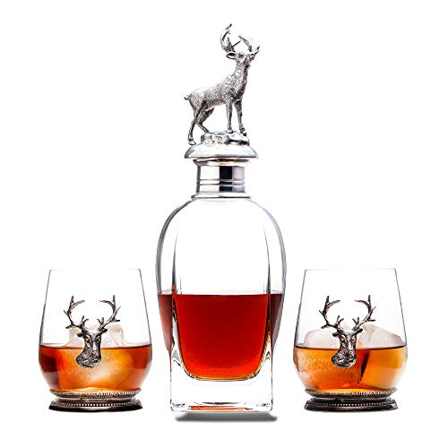 Milburga Premium Antique Pewter Stag Whiskey Decanter Set with 2 Glasses – Luxury Lead Free Crystal Liquor Decanter Set - Stylish Decanters and Exquisite Bar Accessories for Bourbon, Scotch or Whisky