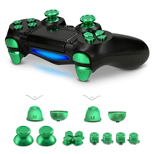 kwmobile Controller Button Replacement Set - For Playstation 4 Pro / PS4 Slim Controller (Gen 2) - Custom Aluminum Metal Repair Parts - Green
