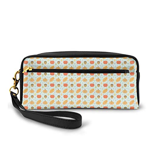 Pencil Case Pen Bag Pouch Stationary,Flat Art Inspired Doodle Acorns Leaves Pumpkin and Apples On Raindrop Shapes Pattern,Small Makeup Bag Coin Purse