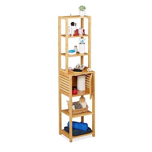 Relaxdays Badregal aus Bambus, 7 Böden, 1 Fach mit Tür, stehend, Bad & Küche, hohes Badmöbel, HxBxT: 149x35x29 cm, Natur, 1 Stück