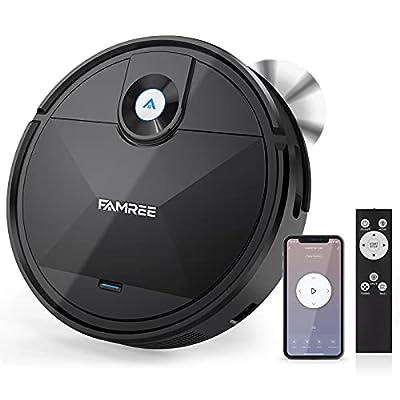 Famree MT-200 Robot Vacuum Cleaner, 1800Pa Strong Suction WiFi/App Self-Charging Robotic Vacuums Quiet Mini Vacuum Cleaner for Pet Hair, Hard Floor, Medium-Pile Carpets