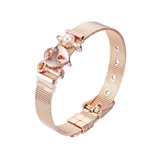 Heideman Armband Damen Mesh aus Edelstahl Silber oder Rosegold farbend poliert Armkette mit Charms Charmband für Frauen mit Swarovski Perle Weiss als Bracelet Weiß hb2811-8-11