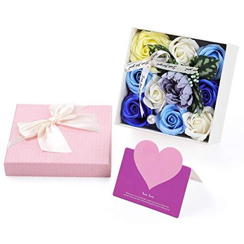 Wodasi Künstliche Blumen Rosen, Gefälschte Blumen-Geschenkbox Künstliche Seife Rose, Rose Soap Blumen in Geschenk-Box, Platz Rosenbox mit Grußkarte, Geschenk für Frauen Freundin Frau
