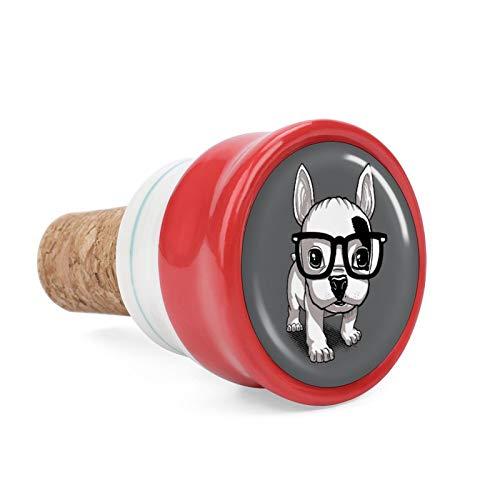 Buldog Bulldog Frances French Wine Cork Wine Bottle Stoppers Ceramic Plug for Wine Lover Gifts, Bar, Kitchen, Holiday Party, Wedding - Keep Wine Fresh