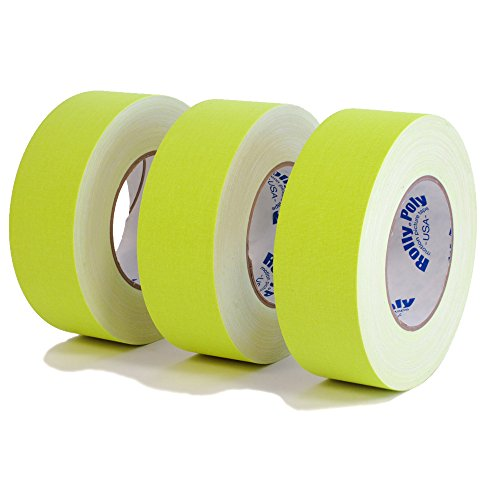 3 Rolls of Premium Professional Grade Gaffer Tape 3 Pack - 2 Inch X 50 Yards - Fluorescent / Neon Yellow Color - 3 Rolls per Case