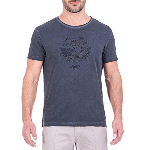 Jeep T- Shirt Vintage-Effekt Explore The Outdoor J8S Homme, Bleu Nuit/Noir, L