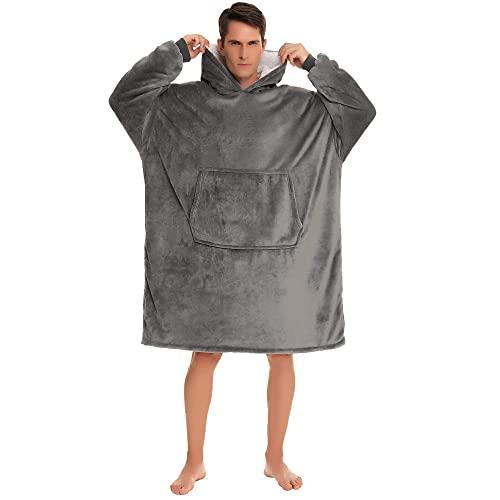 YEPLINS Kapuzenpullover für Herren,Oversize Hoodie Decke mit Kapuze,Blanket Hoodie Herren Sweatshirt Decke Lang (Grau)