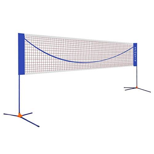 Qazxsw Einfache Badminton Net Ständer, tragbare Falten Tennis Rack-Innen- und Außen Wettbewerb Netzpfosten Haushalt Shuttlecock Ständer, höhenverstellbar,Blau,Net Width=510cm