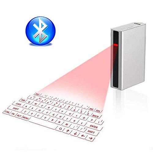 Roboraty Virtuelle Laserprojektionstastatur, 4-In-1-Powerbank Mit 5200 MAh, Maus, Bluetooth-Lautsprecher, Sprachtastenfunktion, Tragbares Geburtstagsgeschenk,White