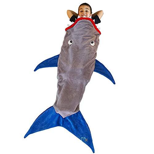 CUGBO サメ寝袋 マーメイドブランケット 着る毛布 フランネル 寝袋 子供用 ひざ掛け 人魚 暖かい 柔らかい 可愛い 優しい肌触り 防寒 お昼寝毛布 誕生日 プレゼント ギフト
