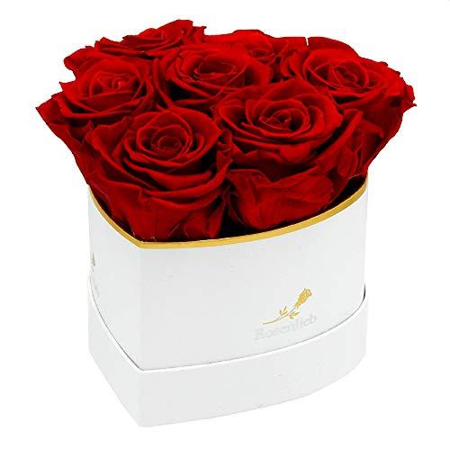Rosenlieb Herz Rosenbox mit 6 Infinity Rosen (3 Jahre haltbar) | Echte Blumen | Flowerbox inklusive Grußkarte | Geschenk für Frauen Freundin Frau Muttertag Geburtstag Valentinstag (Rot)
