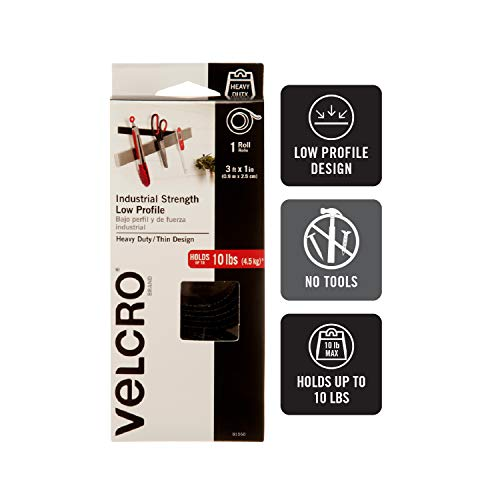 VELCRO Brand Industrial Strength Fasteners | Low Profile Thin Design | Professional Grade Heavy Duty Strength Holds up to 10 lbs on Smooth Surfaces | Indoor Outdoor Use | 3ft x 1in Roll Tape, Black (91050) Photo #3