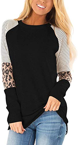 HARHAY Women's Leopard Print Color Block Tunic Round Neck Long Sleeve Shirts Striped Causal Blouses Tops Black M