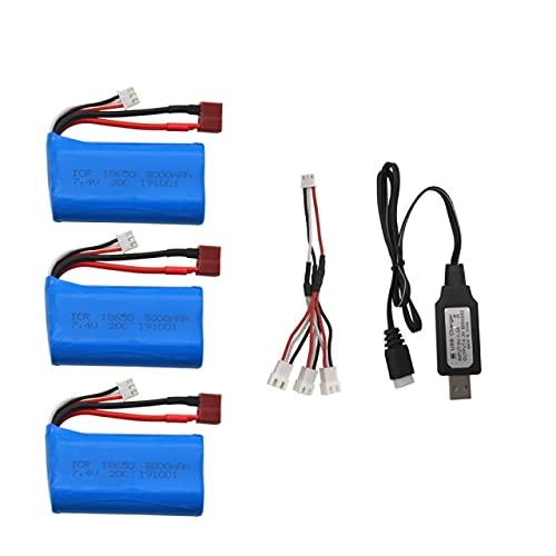 CENYAFAN 7.4V 3000MAH lipo batería 18650 de Q46 WLTOYS 10428/12428/12423 RC Recambios con Cargador de batería for 7.4V 2S Juguetes Piezas Herramienta de Montaje de Piezas RC (Color : USB 3PCS)