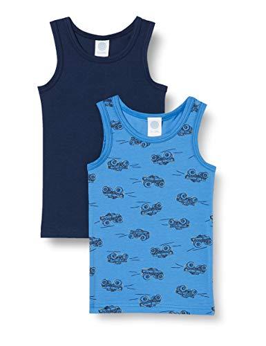 Sanetta Jungen Saphir Spannender Unterhemden-Doppelpack Hellblau mit Montsertruck-Allover und in klassischem Dunkelblau, blau, 092
