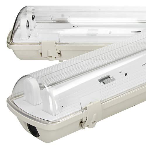 ECD Germany 2x Tubo Fluorescente para Lámpara LED 60cm - IP65 Impermeable - Adecuada para LED T8 - Ilumincación Interiores y Exteriores - Luminaria Difusora - Carcasa Robusta de Policarbonato