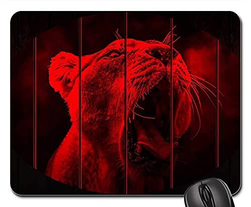 Mauspad Lion Lion Head Zähne Hintergrund Layout Bühne Gaming Mousepad Anti Rutsch Gummiunterseite Hochwertiges Mausunterlage Anti-Ausfransen Gaming Mausmatte Für Laptop/Pc, 25X30 Cm