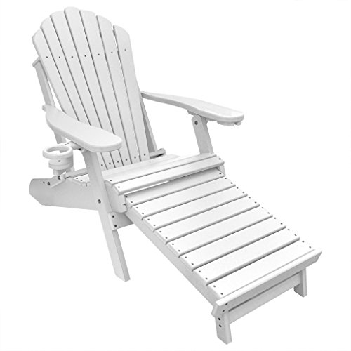 Outer Banks Deluxe Oversized Poly Lumber Folding Adirondack Chair with Integrated Footrest (White) …