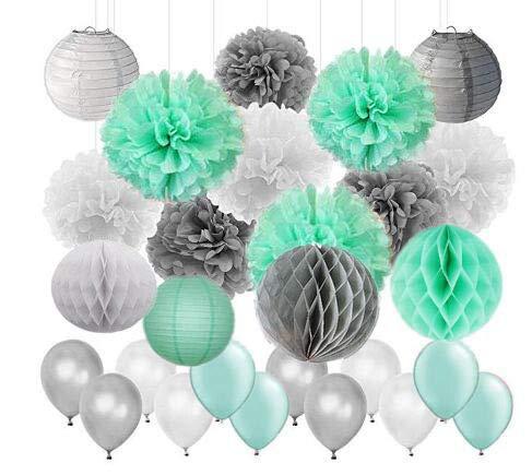 Baby Shower Decor 45pcs/Set Mint Green Gray White Tissue Paper Pom Poms Paper Lanterns Paper Honeycomb Balls Latex Balloon Wedding Bridal Shower Birthday Party Decor