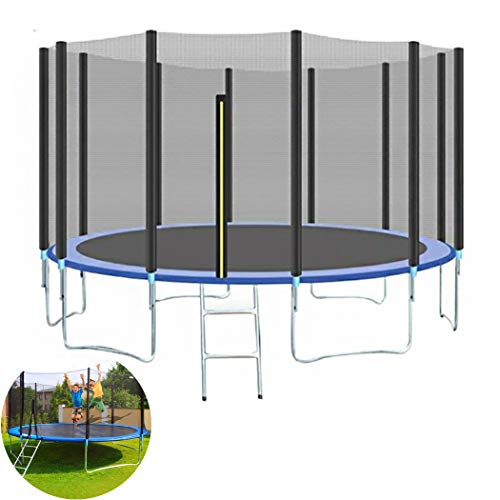 KOQIO Indoor Outdoor Trampoline, 5FT-16FT Portable Sports Kids Trampoline with Protective Net Professional Round Jumping Fitness Trampoline for Adults Or Kids,8FT