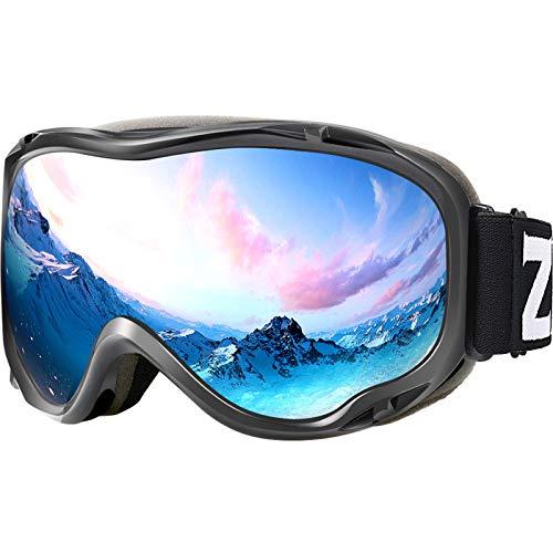ZIONOR Lagopus Ski Snowboard Goggles UV Protection Anti Fog Snow Goggles for Men Women Youth VLT 8.6% Grey Frame Silver Lens