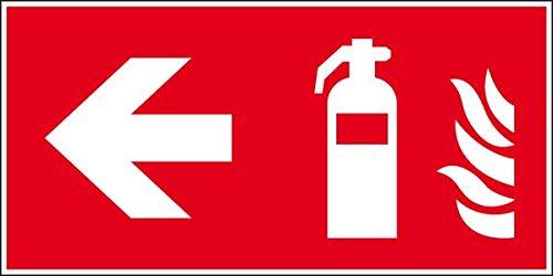 LEMAX® Brandschutzzeichen Feuerlöscher links, ASR/ISO, Folie, selbstklebend, 300x150mm