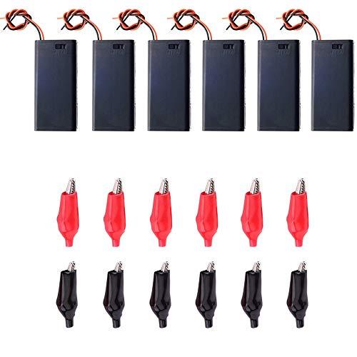 Greluma 6 pezzi 3V AA 2 x 1.5V Portabatterie Scatola portabatterie in plastica con coperchio della custodia Cavo interruttore ON/OFF+12 clip a coccodrillo
