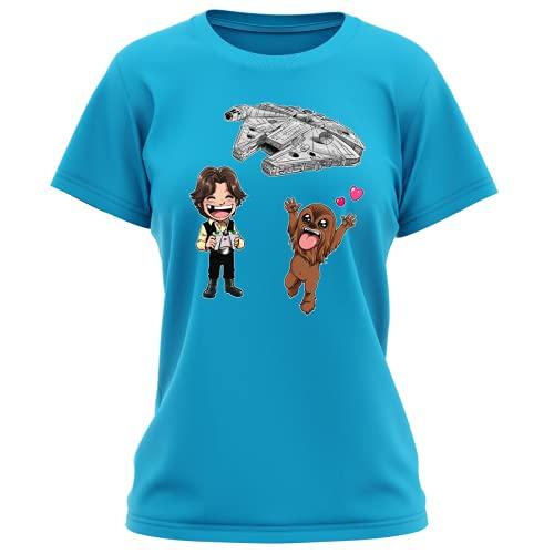 Maglietta Turchese da Donna Parodia Star Wars - Caricature SD di Han Solo, Chewbacca e Il Falcon Millenium Mini Drone - (T-Shirt di qualità Premium in Taglia M - Stampata in Francia - RIF : 1096)