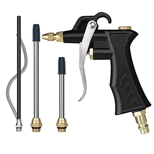 Industrial Air Blow Gun with Brass Adjustable Air Flow Nozzle , Universal hose and 2 Steel Air flow Extension.Pneumatic Air Compressor Accessory Tool Dust Cleaning Air Blower Gun.
