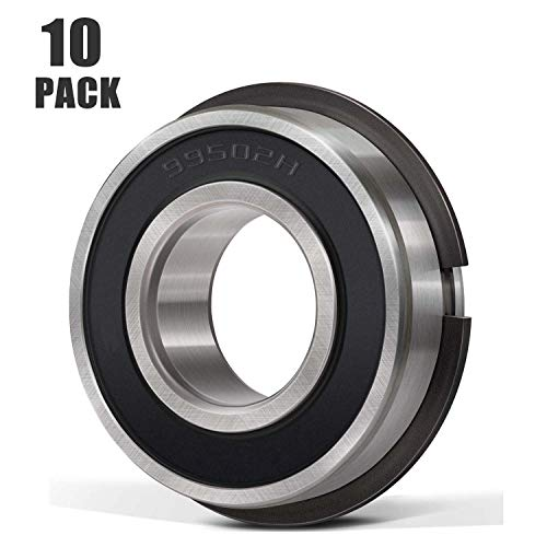 Donepart 99502HNR Bearings 5/8 x 1-3/8 x .433 Inch Ball Bearings with Snap Ring for Motor, Wheel Hub, Lawn Mower, Go Kart, Wheelbarrows, Carts & Hand Trucks (10 Pack)