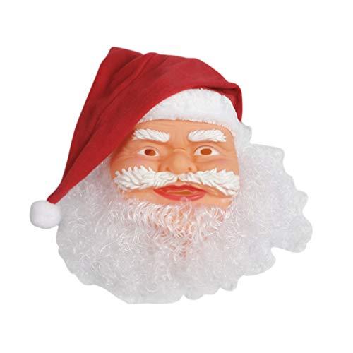 Amosfun Maschera da Babbo Natale con Costume Cosplay Cappello Rosso da Babbo Natale per Bambini Adulti