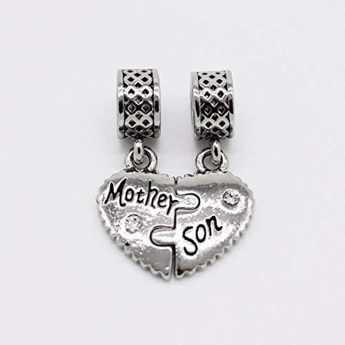Colgante de corazón de cristal blanco para el día de la madre o la madre, ideal para pulsera y collar