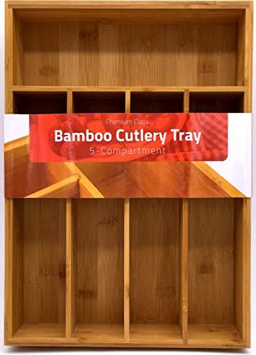 Utopia Kitchen 5 Compartments Bamboo Silverware Organizer-Bamboo Drawer Organizer Tray-Bamboo Hardware Organizer-Flatware Drawer Organizer Tray-Perfect for the Kitchen-Hardware-Cosmetics Divider