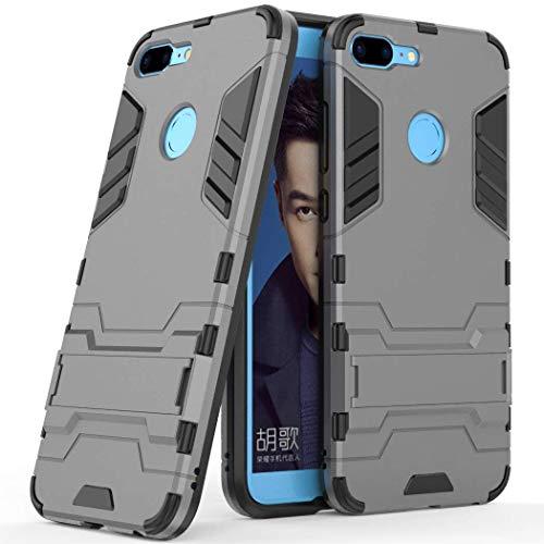 MaiJin Funda para Huawei Honor 9 Lite (5,65 Pulgadas) 2 en 1 Híbrida Rugged Armor Case Choque Absorción Protección Dual Layer Bumper Carcasa con Pata de Cabra (Gris)