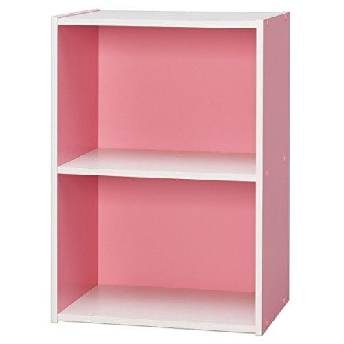 アイリスオーヤマ カラーボックス 2段 収納ボックス 本棚 幅41.5×奥行29×高さ59.5cm ピンク/オフホワイト CX-2