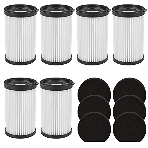 Repuesto de filtro HEPA aspiradora compatible con Handyforce 2761 2759 escoba eléctrica / Dcg Handy Force rbt, paquete de 6 filtros más esponja