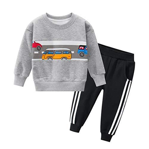 PAUBOLI Peuter Jongens Fleece Trainingspak Set Katoen Sweatshirt en Broek Dikke 2-8T