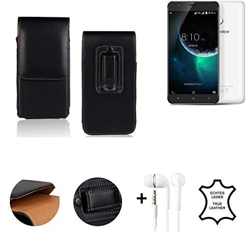 K-S-Trade® Leder Gürtel Tasche + Kopfhörer Für Blackview E7 Seitentasche Belt Pouch Handy-Hülle Gürteltasche Schutz-Hülle Etui Schwarz 1x