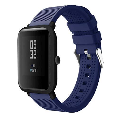 CNBOY per Xiaomi Huami Amazfit Bip Straps, Sport Cinturino in silicone morbido Accessori Wirstband per Huami Amazfit Bip Watch (Blu)