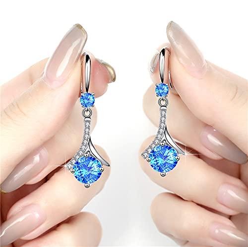xingguang Pendientes colgantes largos para mujer, diseño de circonita, color blanco, redondo, para mujer, joyería de boda, estilo vintage, con cristales azules (color metálico: azul)